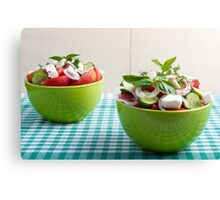 Two green bowl with vegetable vegetarian salad Canvas Print