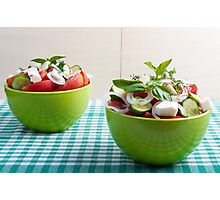 Two green bowl with vegetable vegetarian salad Photographic Print