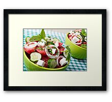 Useful vegetarian salad with raw tomatoes, cucumbers and onions Framed Print