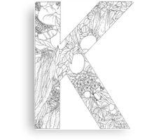 Botanical Alphabet Letter K Canvas Print