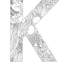 Botanical Alphabet Letter K Photographic Print