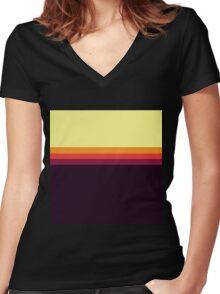 Sunset Palette Stripe Pattern Women's Fitted V-Neck T-Shirt
