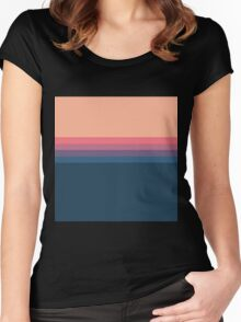Coral blue Color blocks pattern  Women's Fitted Scoop T-Shirt