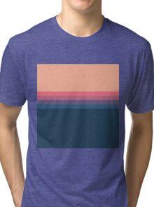 Coral blue Color blocks pattern  Tri-blend T-Shirt