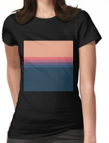 Coral blue Color blocks pattern  Womens Fitted T-Shirt