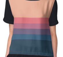 Coral blue Color blocks pattern  Chiffon Top