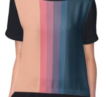 Coral blue Color blocks pattern- vertical Chiffon Top