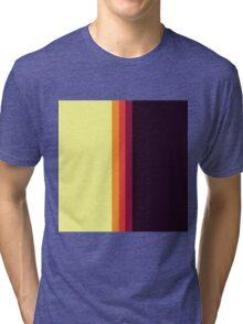 Sunset Palette Stripe Pattern- vertical Tri-blend T-Shirt