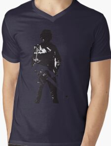 the rock legend with guitar on back Mens V-Neck T-Shirt