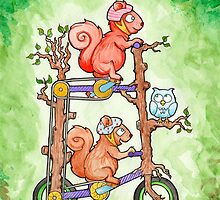2 Squirrels on a Tall Bike Watercolor by Tomas Quinones