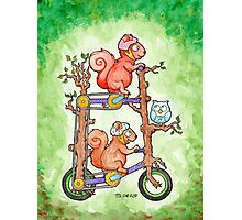 2 Squirrels on a Tall Bike Watercolor Photographic Print