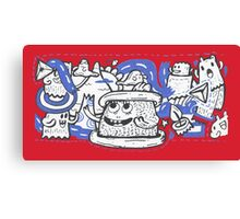 Doodle Ghost Party Canvas Print