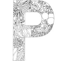 Botanical Alphabet Letter P Photographic Print