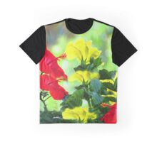 Red and Yellow Hibiscus Graphic T-Shirt