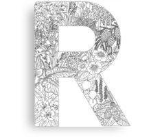 Botanical Alphabet Letter R Canvas Print