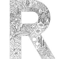 Botanical Alphabet Letter R Photographic Print