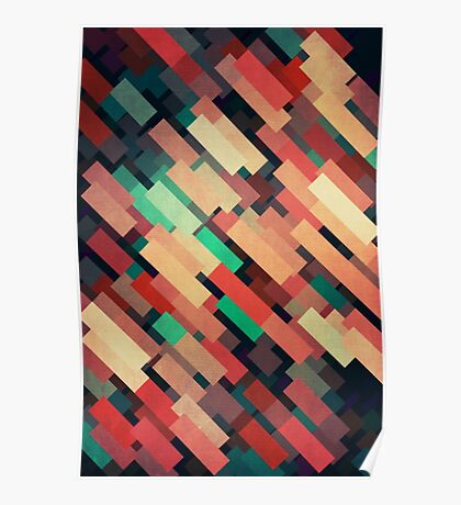 Abstraction #004 Red Green Yellow Geometric Blocks Poster