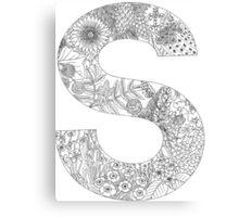 Botanical Alphabet Letter S Canvas Print