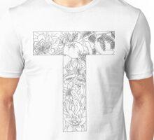 Botanical Alphabet Letter T Unisex T-Shirt