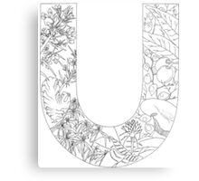 Botanical Alphabet Letter U Canvas Print
