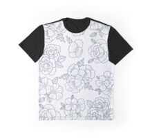 Black and White Floral Print  Graphic T-Shirt