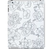 Black and White Floral Print  iPad Case/Skin