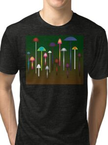 Colored Mushroom Forest Tri-blend T-Shirt