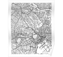 Tokyo Map, Japan - Black and White Poster