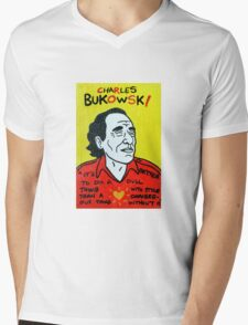 Charles Bukowski Folk Art Mens V-Neck T-Shirt