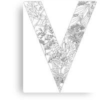 Botanical Alphabet Letter V Canvas Print