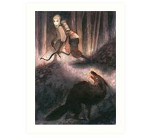A Peculiar Moment Between Two Hunters Art Print
