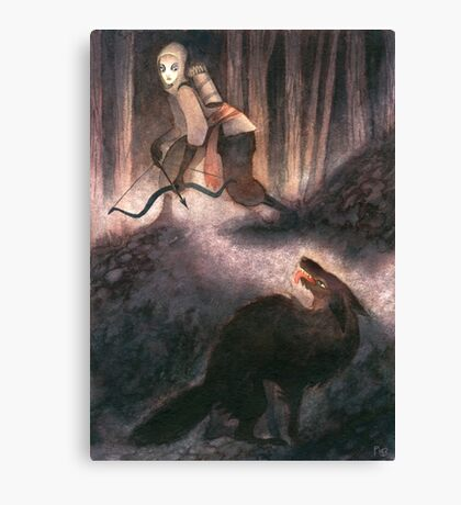A Peculiar Moment Between Two Hunters Canvas Print