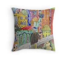 Looking at the town where I would like to live Throw Pillow
