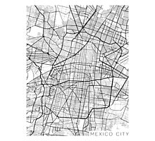 Mexico City Map, Mexico - Black and White Photographic Print