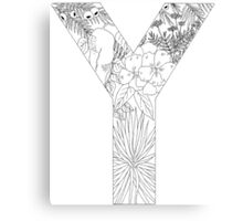 Botanical Alphabet Letter Y Canvas Print