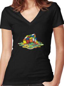 Melting Rubik Cube Women's Fitted V-Neck T-Shirt