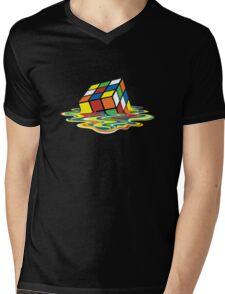 Melting Rubik Cube Mens V-Neck T-Shirt