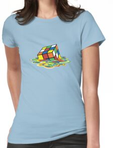 Melting Rubik Cube Womens Fitted T-Shirt