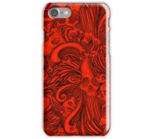 Winged Skull Gothic Illustrated Print - Red iPhone Case/Skin