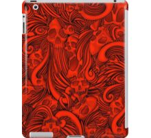 Winged Skull Gothic Illustrated Print - Red iPad Case/Skin