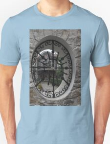 Elliptic View - Beautiful Home Through a Fence Window Unisex T-Shirt