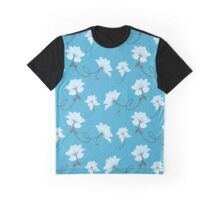 White Flowers on Blue Background, Floral Graphic T-Shirt