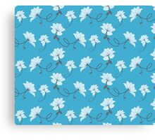 White Flowers on Blue Background, Floral Canvas Print