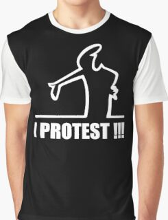 Cool Funny Cartoon I Protest Graphic T-Shirt