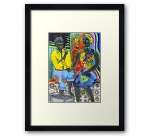 After the work, an Afro-American couple enjoying the evening Framed Print