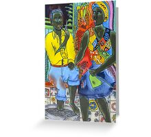 After the work, an Afro-American couple enjoying the evening Greeting Card