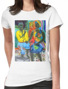 After the work, an Afro-American couple enjoying the evening Womens Fitted T-Shirt