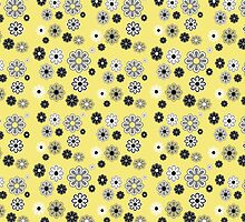 Flower Power Groovy in Yellow by dbvisualarts