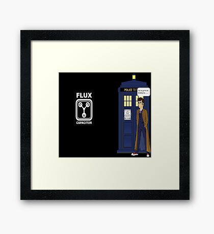 Dr Who David Tennant vs Back to the Future Framed Print