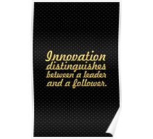 "Innovation distinguishes... ""Steve Jobs"" Inspirational Quote Poster"